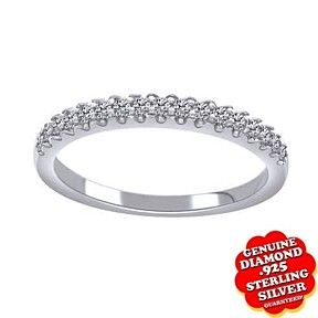 1/10 Ct Round Cut Genuine Diamond 14K White Gold Over Wedding Band Ring $999 by JewelryHub on Opensky