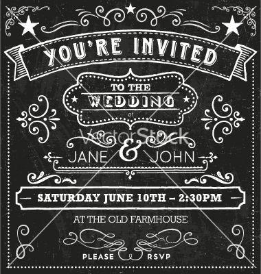 Wedding Chalkboard Invitation Elements Vector   By