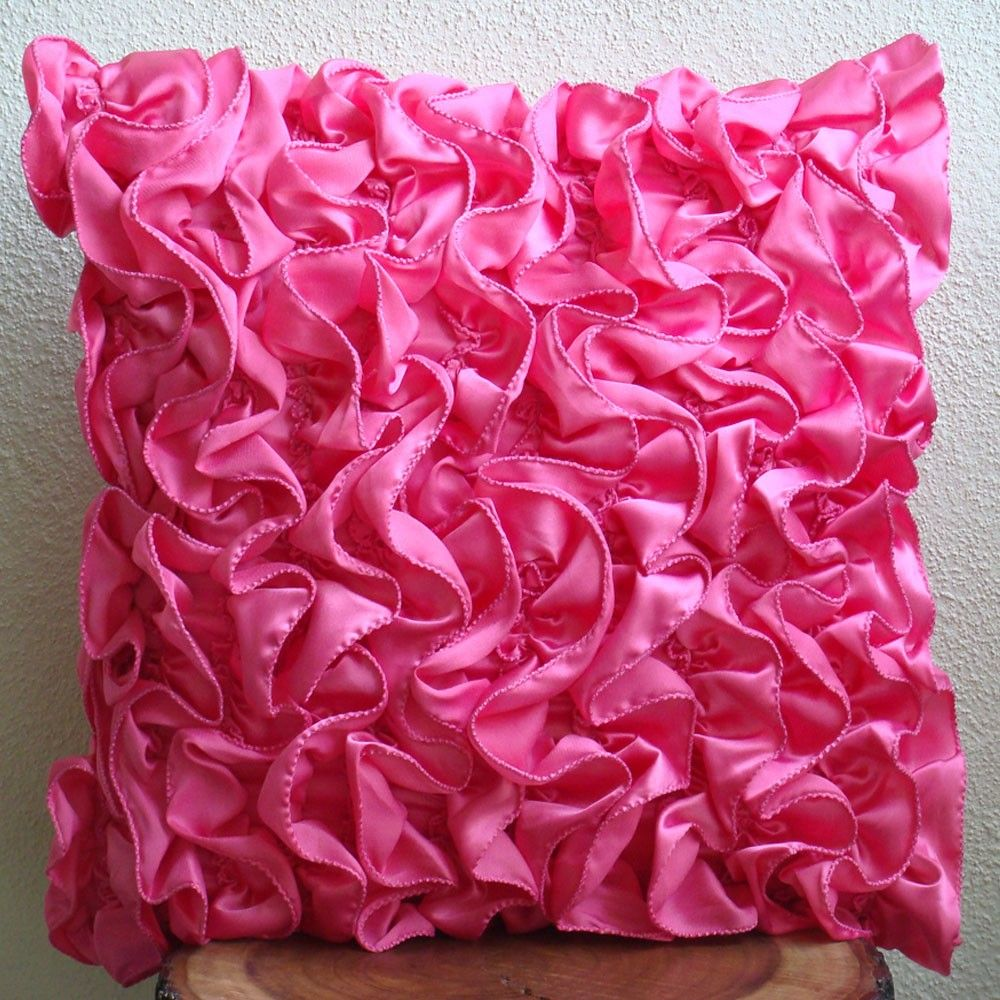 fuchsia pink cushion covers x satin pillow covers square  - fuchsia pink cushion covers x satin pillow covers square vintagestyle ruffles shabby chic throw pillows cover  vintage fuchsia