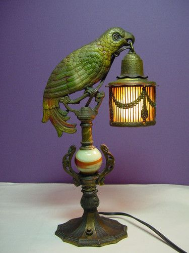 Vintage Art Deco Parrot Lamp Mica Shade Cast Iron Amp Marble