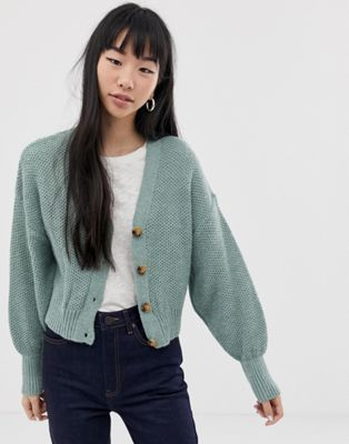 ASOS DESIGN chunky cardigan with blouson sleeve | ASOS