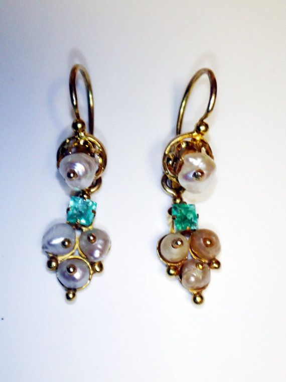 Antique Pearl Earrings Emerald By Belmarjewelers 200 00