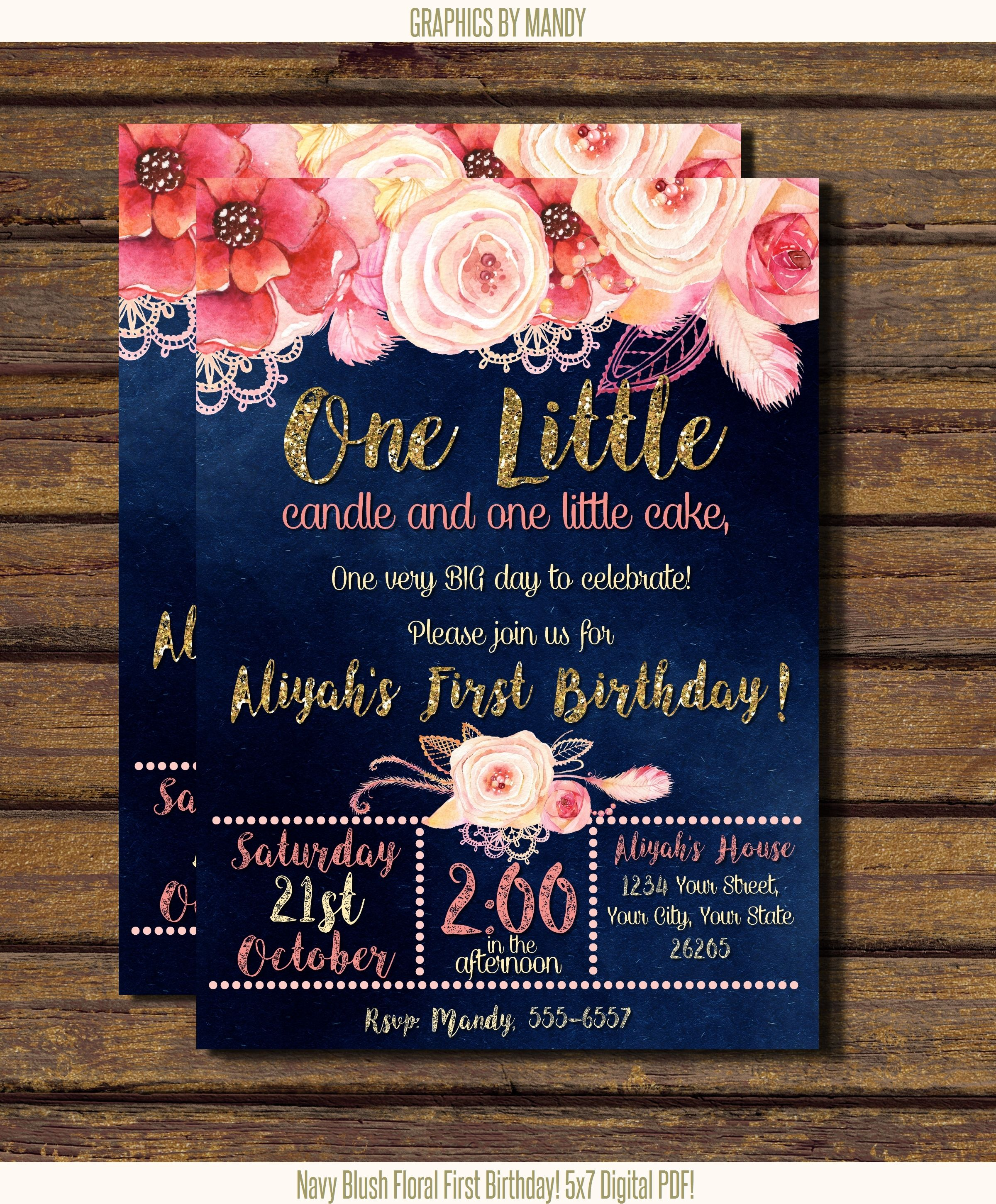Navy Floral First Birthday Gold Glitter Digital Pdf Or Jpeg