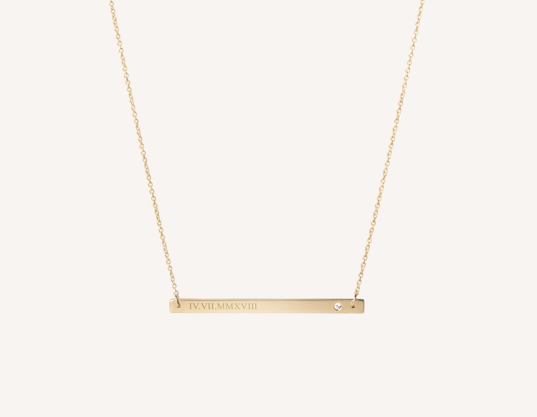 Customized Engraving 14k Solid Gold Bar Necklace With 02 Carat Diamond On Thin Simple 17 Inch Fine Jewellery Necklace Solid Gold Necklace Gold Necklace Women