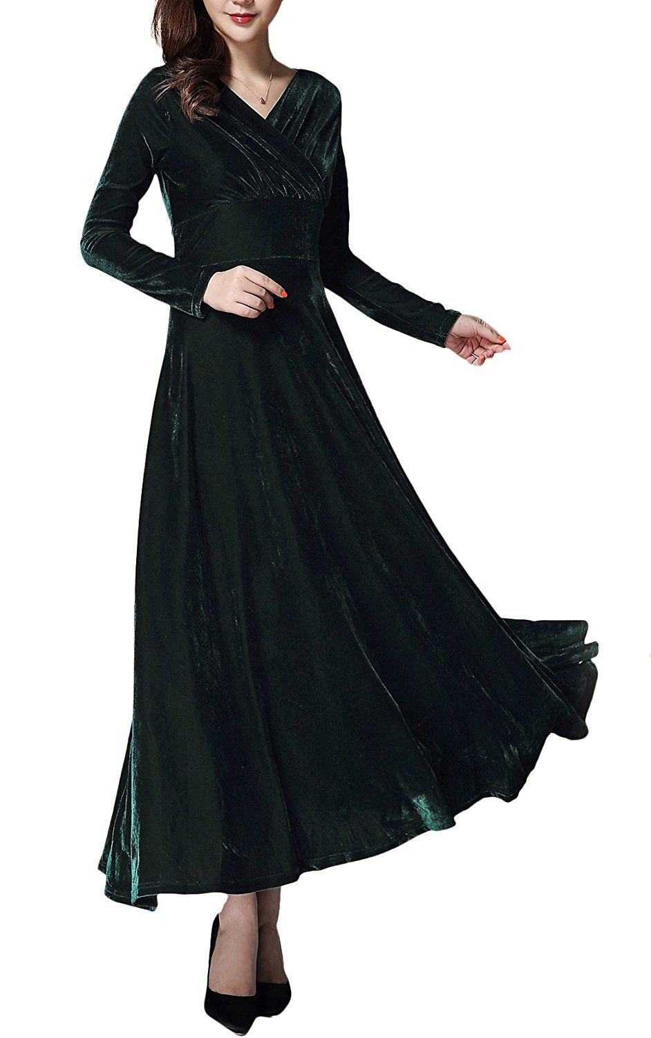 5ee16eb9429 Urban CoCo Women long sleeve V-neck Velvet Stretchy Long Dress (Small