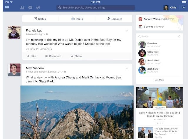 Facebook Revamps Right-Hand Column on iPad App
