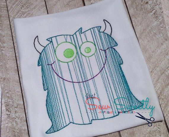 Vintage monster sketch halloween applique design embroidery