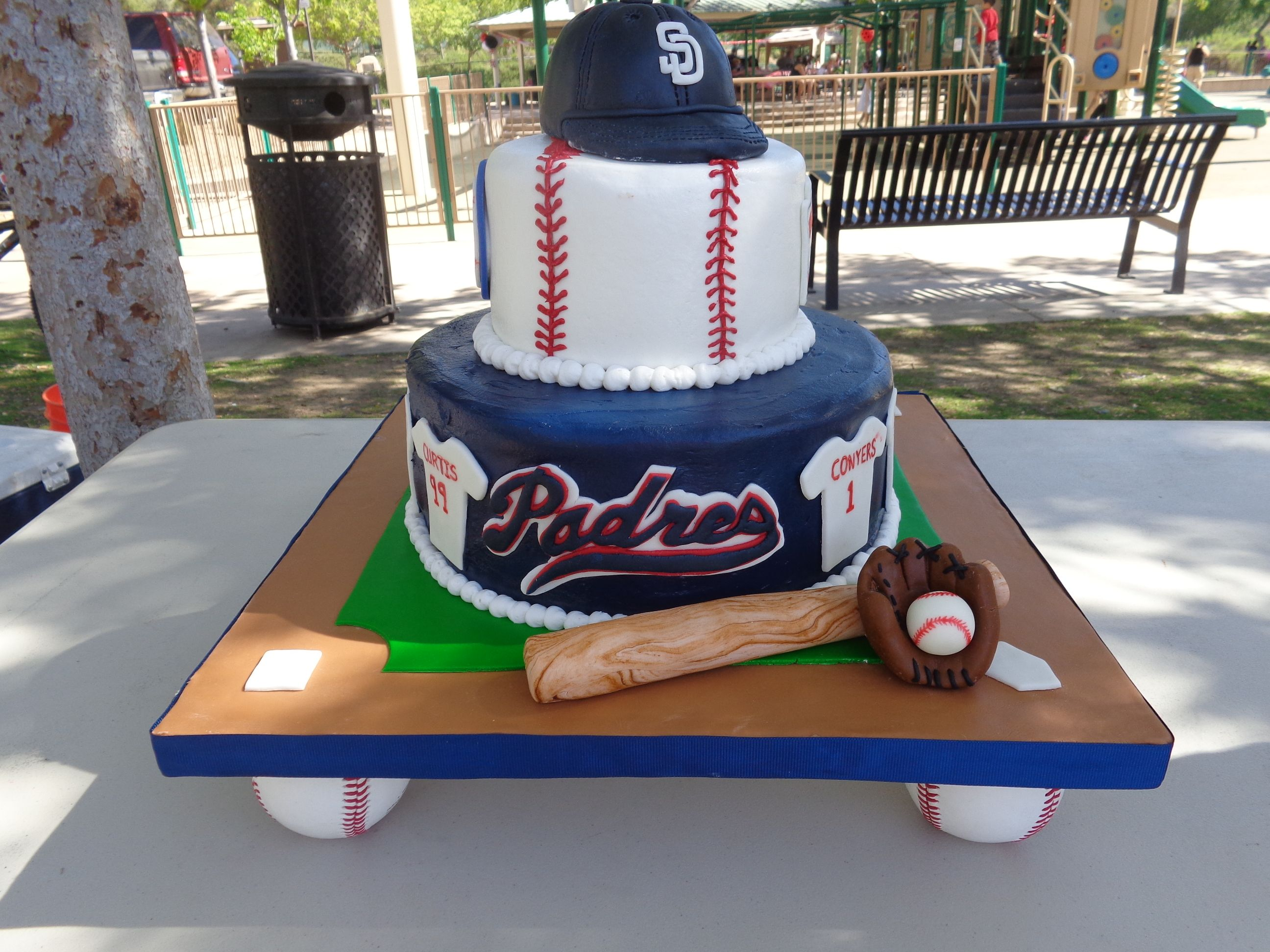 Astounding Little League Baseball Cake With Images Baseball Birthday Personalised Birthday Cards Veneteletsinfo