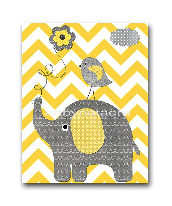 Yellow Gray Digital Download Print Baby Room Decor Nursery Printable ...