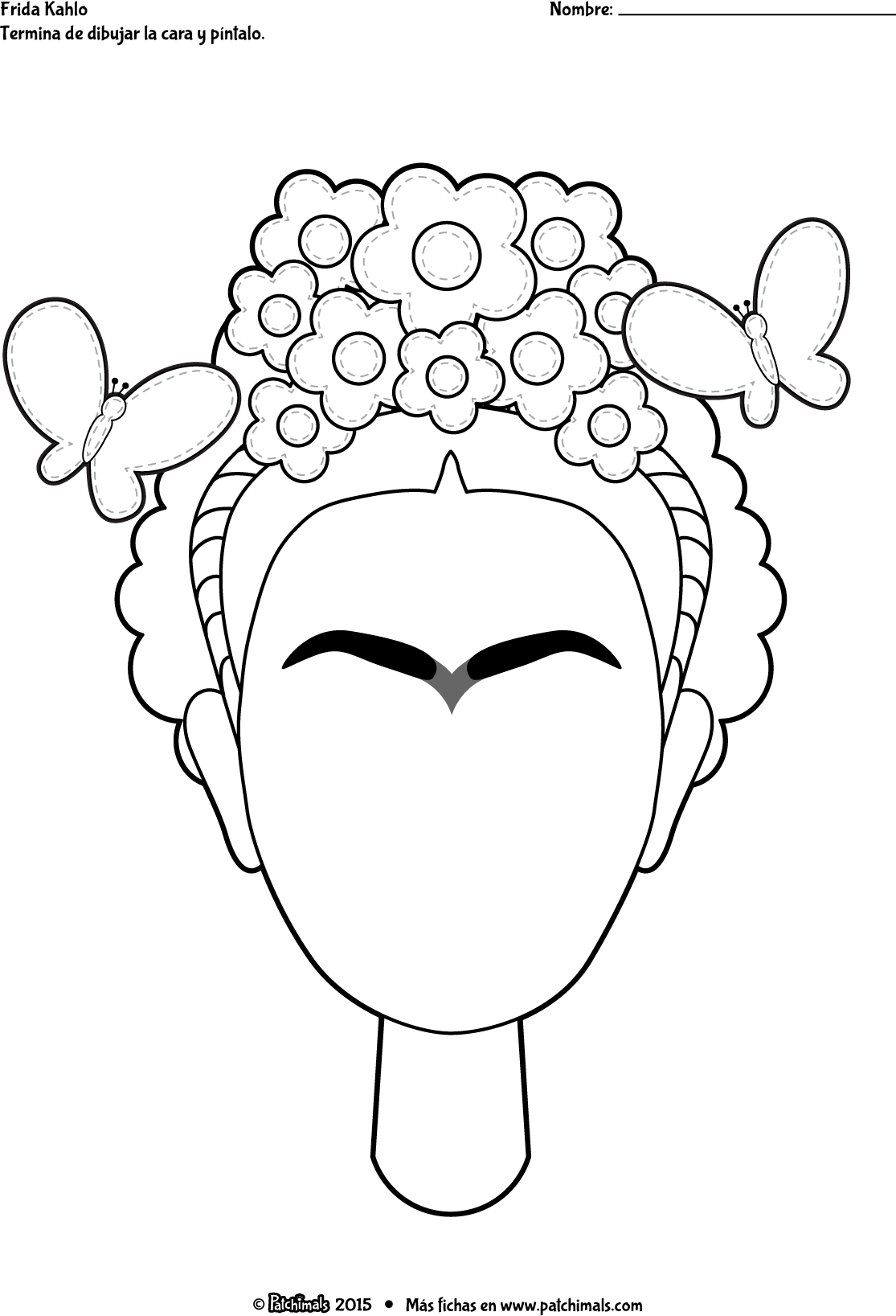 Www Patchimals Com Downloads Coloring Artist Frida Khalo Color Frida Esp Png Cute Art Projects Embroidery Art Art Projects