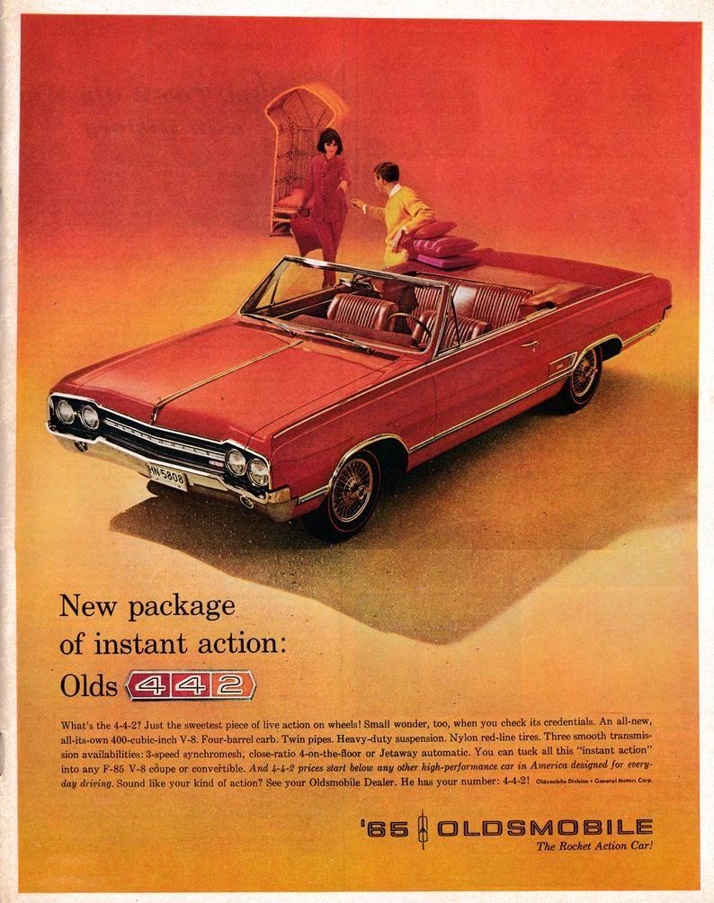 1965 Oldsmobile 442 Red-400 ci V-8 Four Barrel-Original 13.5 * 10.5 Magazine Ad