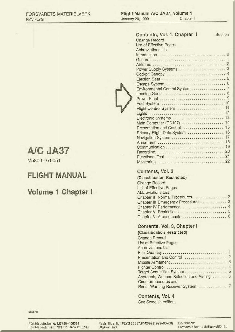SAAB A/ C JA 37 Viggen Aircraft Flight Manual, ( English Language ) , -  Aircraft Reports - Aircraft Manuals - Aircraft Helicopter Engines  Propellers ...
