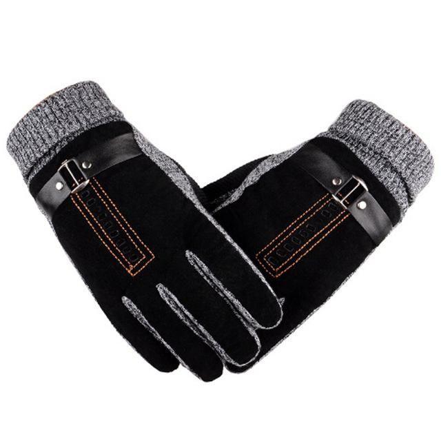 Men/'s Deerskin Luxury Leather glove Winter Mitt Black Heavy Lined Fleece