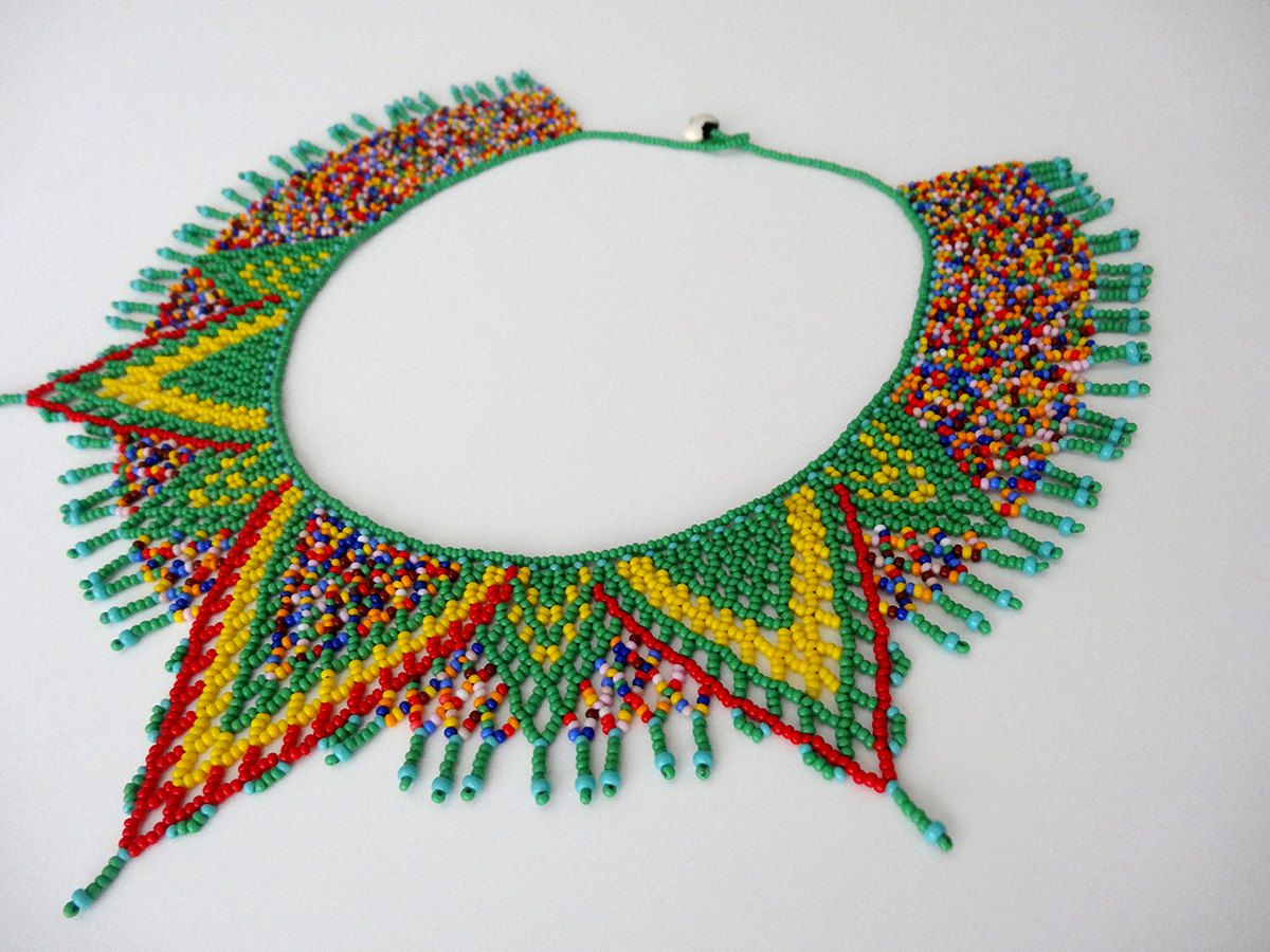 Peyote beaded multicolor, green, yellow and red Native Mexican ethnical inspired Necklace choker handmade by Luciana Lavin by LucianaLavin on Etsy
