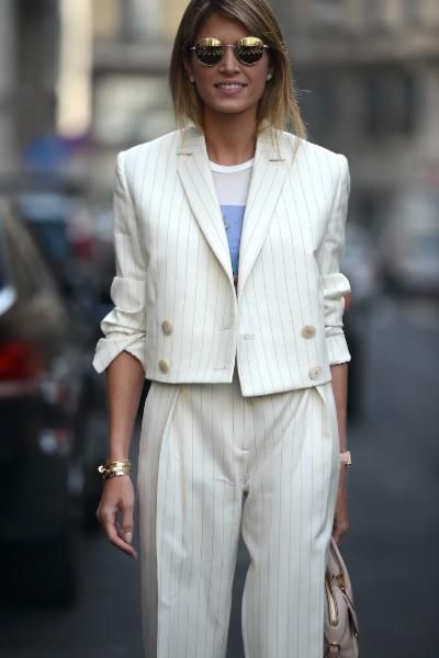 Nothing looks quite as fresh as an all-white suit. We love this look from Milan Fashion Week.