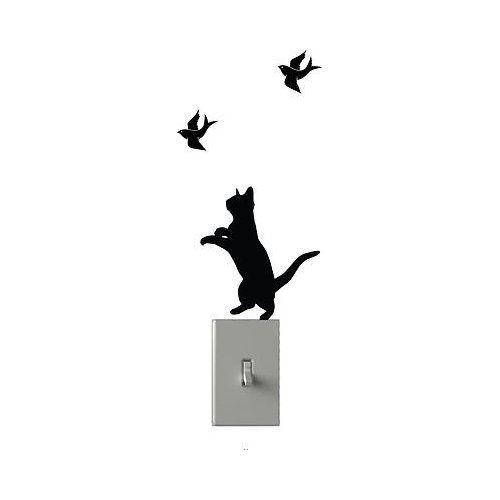 Cat Chasing Birds Light Switch Decals Custom Vinyl Wall Art - Custom vinyl wall decals cats