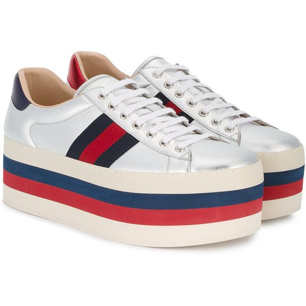 54e78f004652 Gucci GG vintage web platform sneakers ( 990) ❤ liked on Polyvore featuring  men s fashion