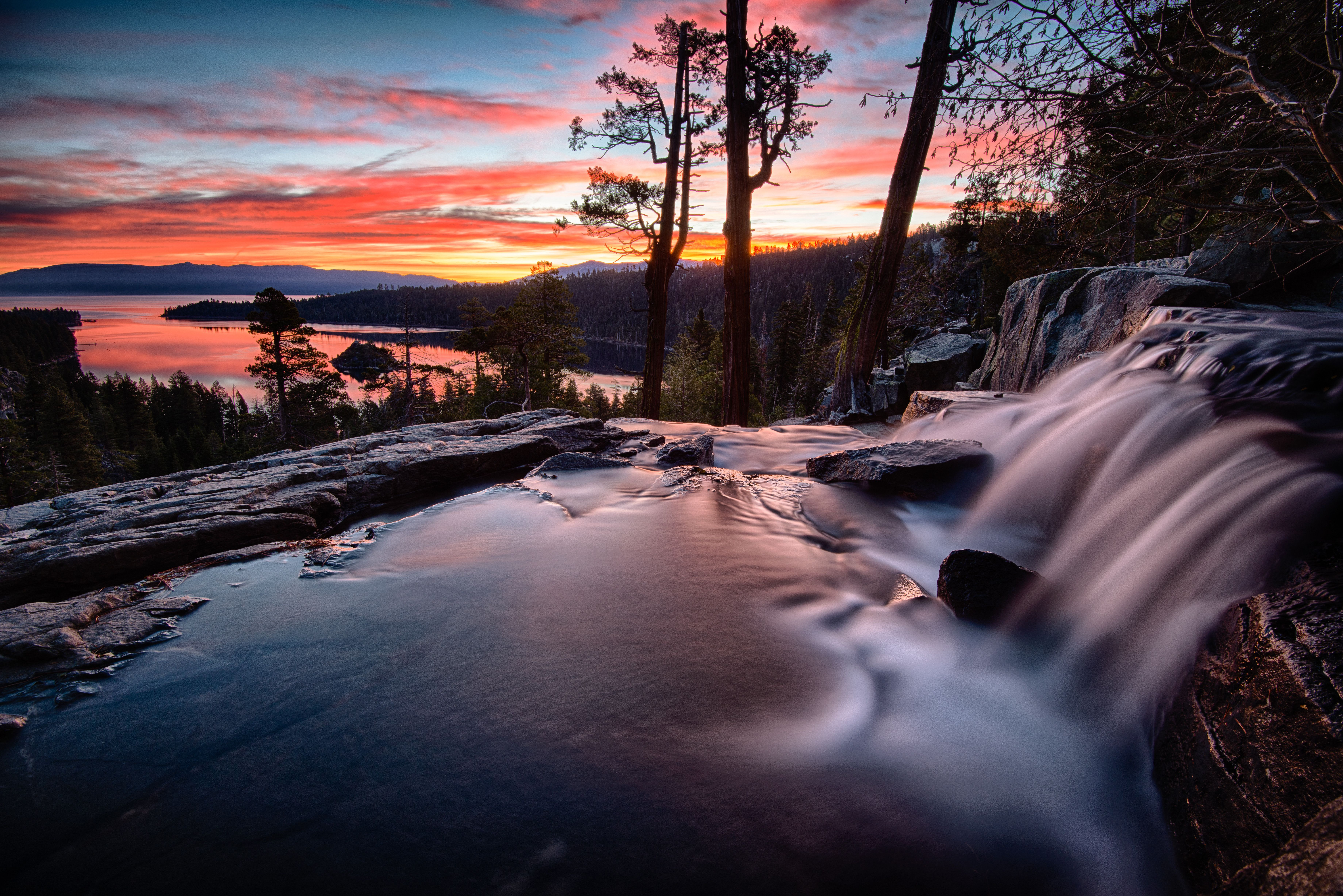 Sunset over Lake Tahoe from the Emerald Bay falls.