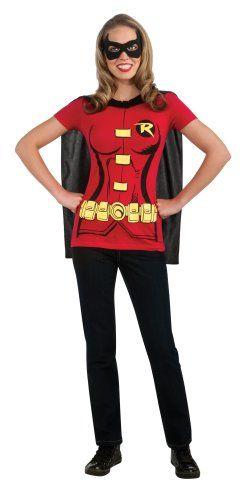 fcfedc1e138 DC Comics Women s Robin T-Shirt With Cape And Eye Mask