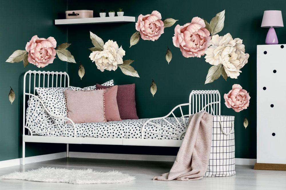 Piwonie Naklejka Na Sciane Peonie Kwiaty Xxl Hit Home Decor Toddler Bed Decor