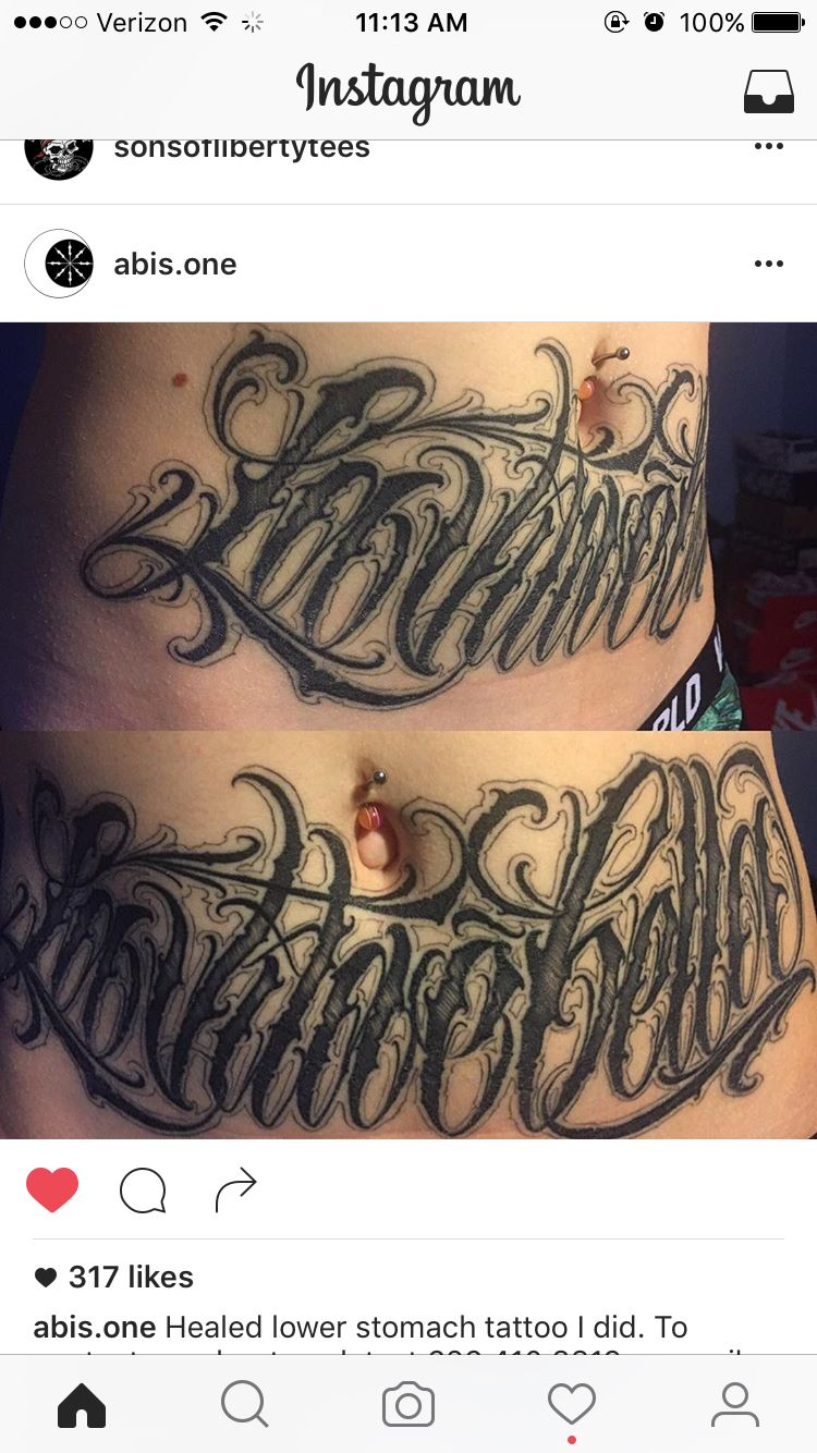 Stomach Tattoo Lettering Los Angeles Tatuagem Escrita Tatuagem Lettering Tatuagem