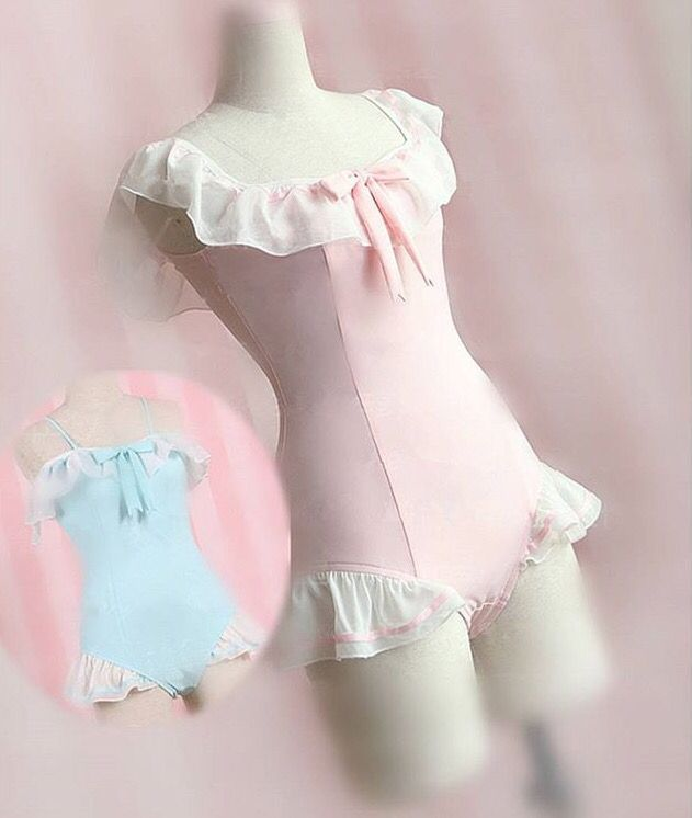 bca57281af Japanese Cute Pink Bunny Ruffle 1 Piece Swimsuit SD02471