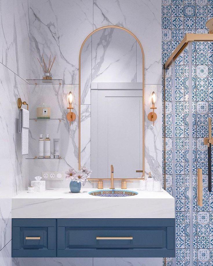 """Интерьеры и Дизайны on Instagram: """"Друзья, в галерее ➡️ ванная комната в восточном стиле. Честно признаюсь, восточный стиль не входит в мои любимчики, но от этого интерьера я…"""""""
