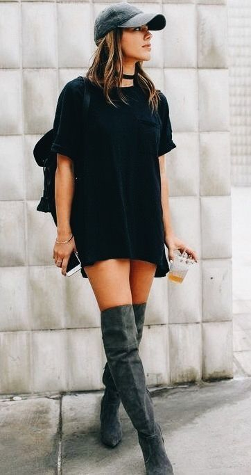 Black Sweater Dress With Gray Suede Otk Boots And Cute Hat