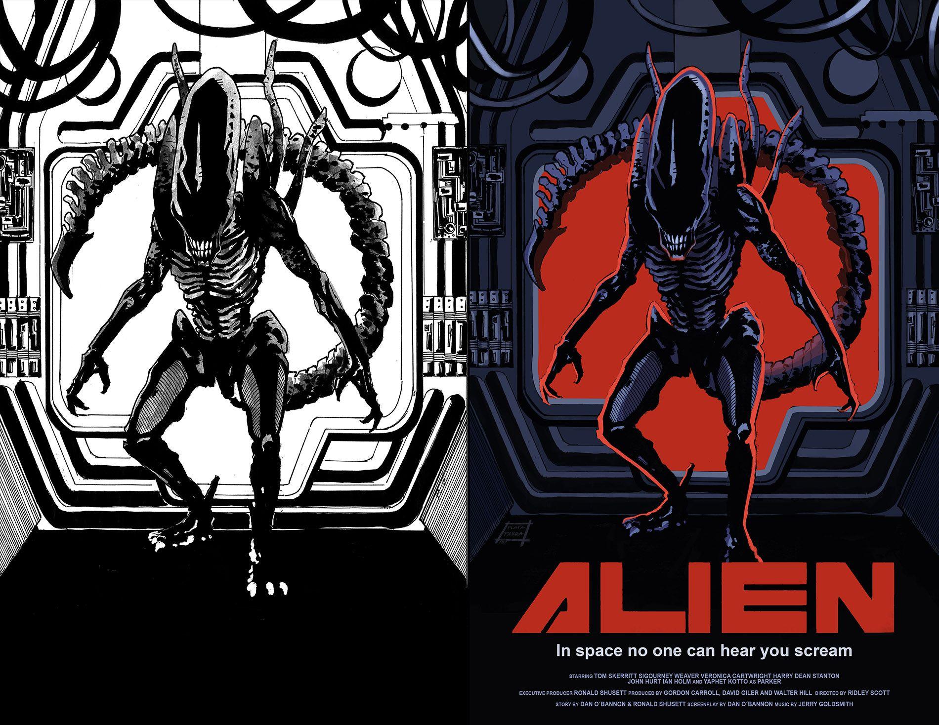 Alien - Fan art. Dibujo y tinta: Marco Parra. Color: Jovanna Plata ...