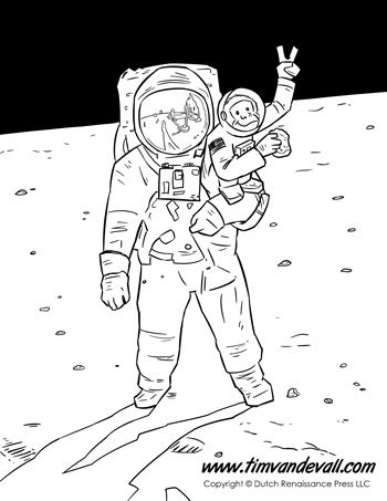 Animals In Space Coloring Page For Kids Buzz Aldrin With His Peace