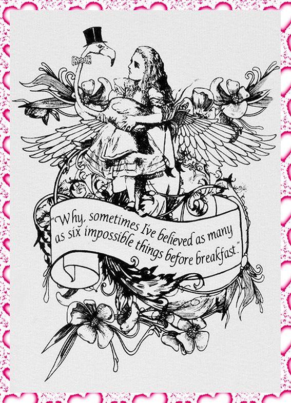 Alice In Wonderland illustration Art Quote