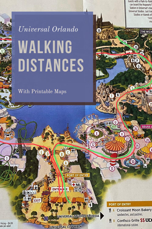 Orlando Vacation Walking Distances And Training Tips Universal Islands Of Adventure Disney World Map Universal Studios Orlando Map