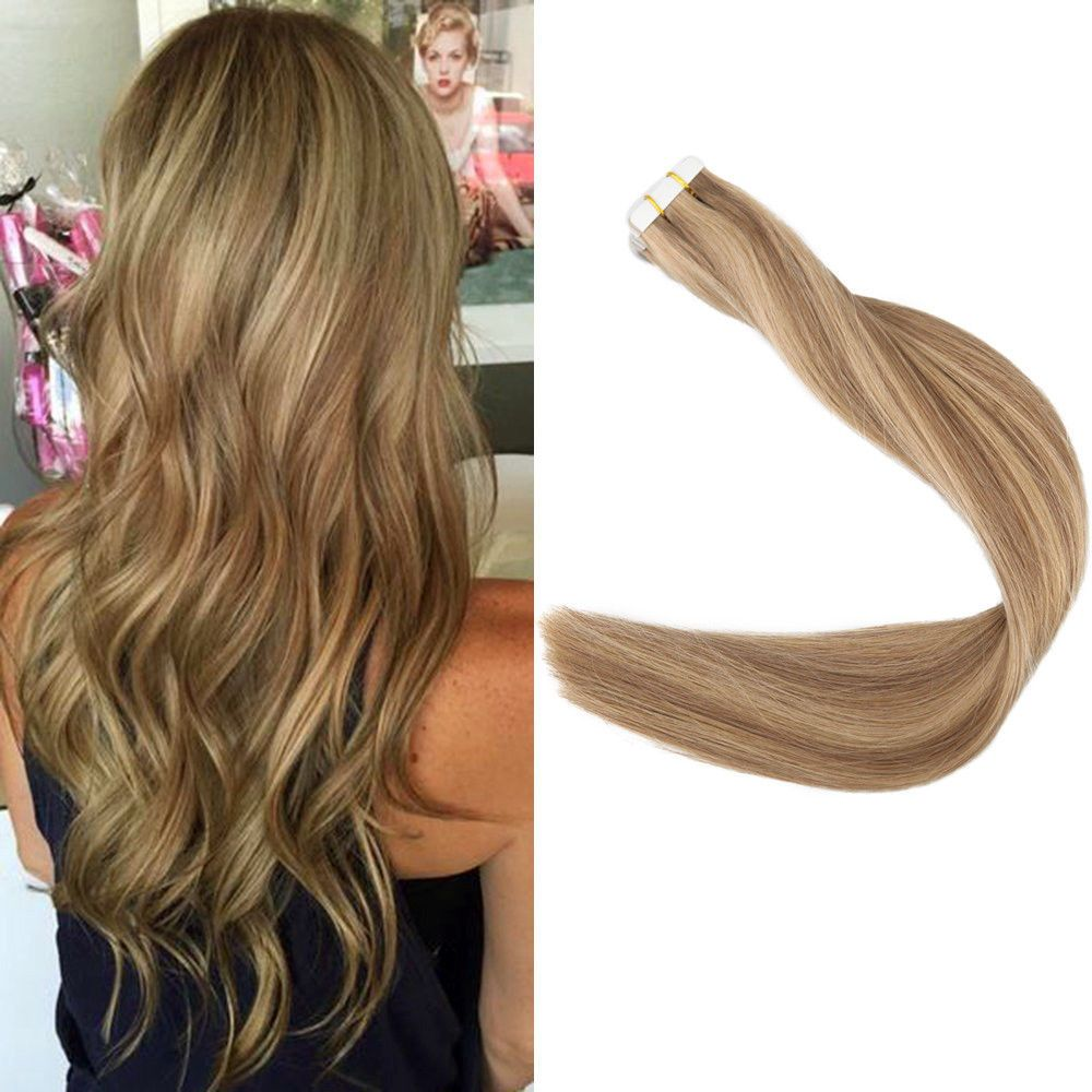 Full Shine Skin Weft Tape In Human Hair Extensions Highlighted Color