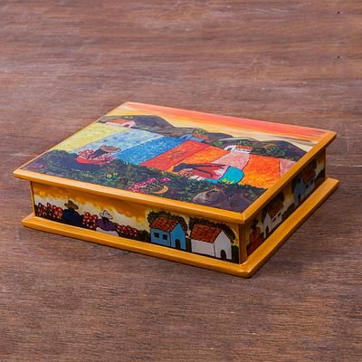 Painted glass jewelry box, 'Mother and Daughter' - Peruvian Reverse Painted Glass Jewelry Box (image 2)