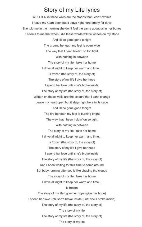 Twitter 1dalert Full Official Story Of My Life One Direction Lyrics One Direction Songs Lyrics
