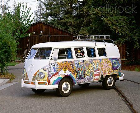 Aut 22 Rk1091 01 1965 Vw Kombi Hippie Bus 3 4 Side View On Pavement By Trees Vw Bus Hippie Vintage Vw Bus Vintage Vw Van