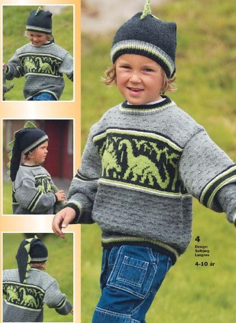 Детские пуловеры с динозаврами спицами. Восхитительная шапочка «Динозавр» b04f7d6476d82