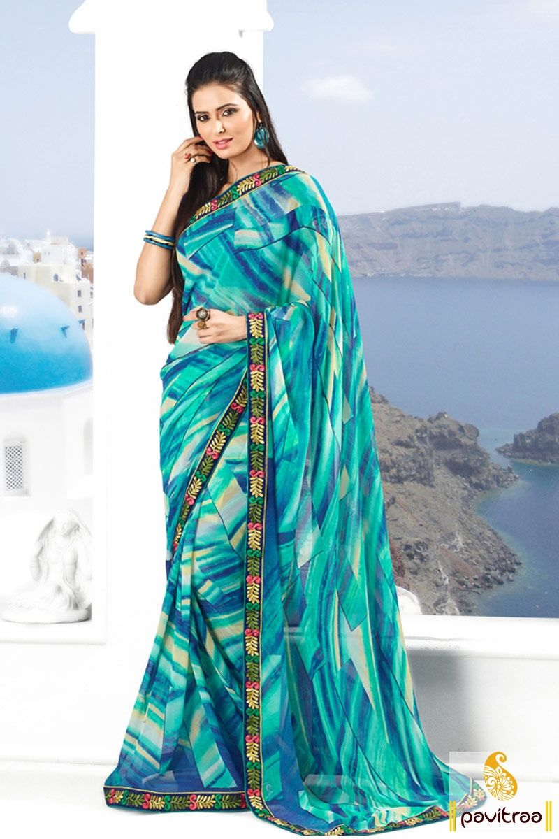 #Pavitraa Ice #Blue Color #Designer Printed #Sarees Rs 999.9