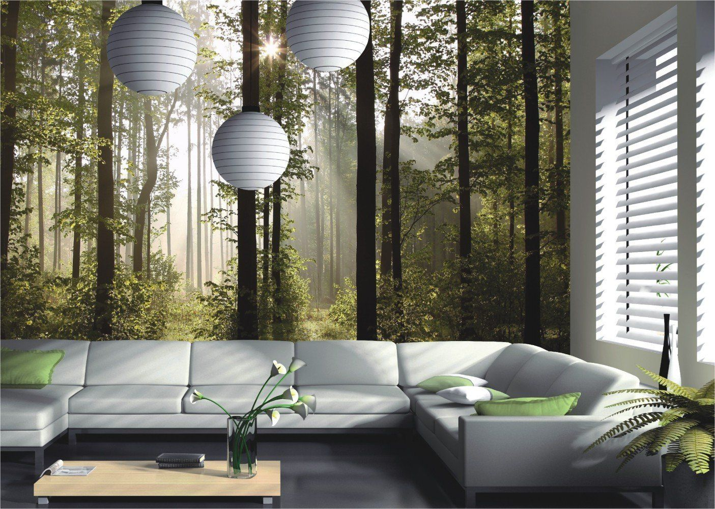 Fototapete Tapete Natur Wald Bäume Lichtspiel Foto 360 cm x 254 cm ...