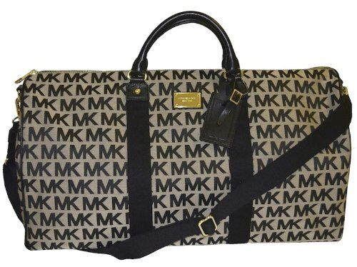 Michael Kors Black MK Signature Travel Duffle Luggage Bag $189.99 ...