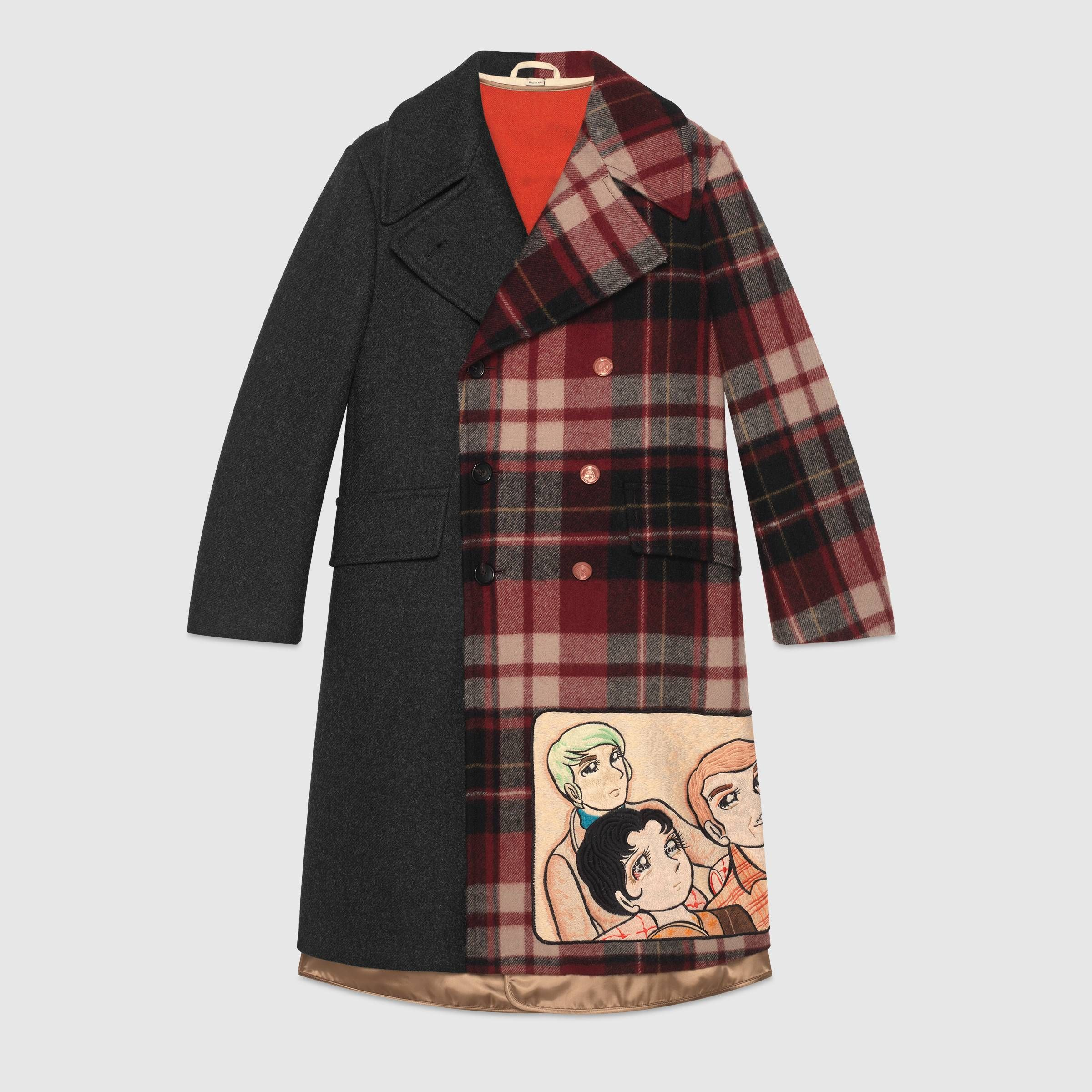 ad5f42c77 Coat with Viva! Volleyball patch in Dark grey on one side and red, black,  yellow and ivory check wool on the other | Gucci Men's Coats