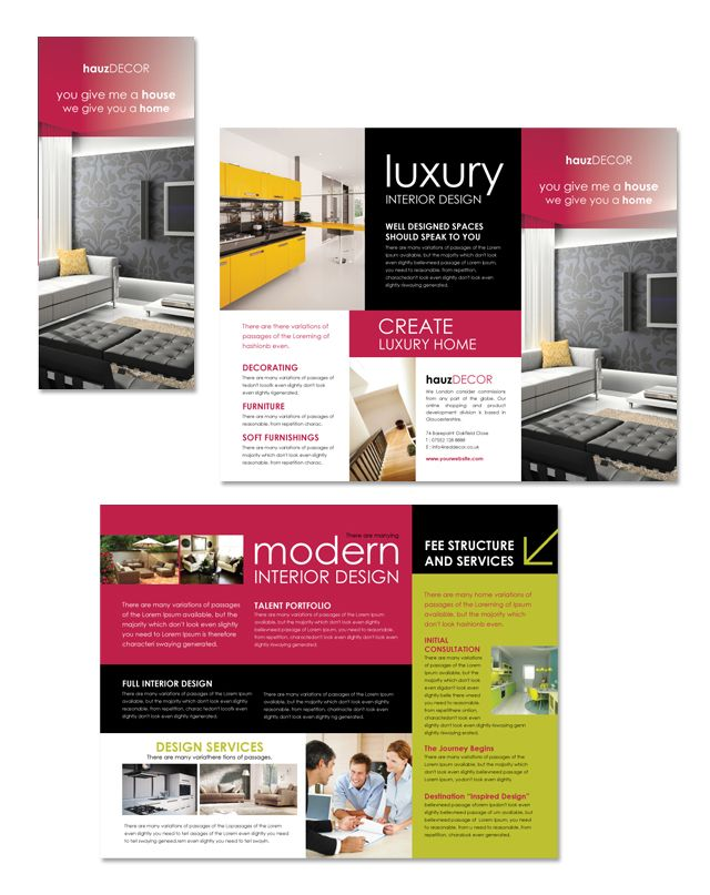 Interior Design Firm Tri Fold Brochure Template Business and