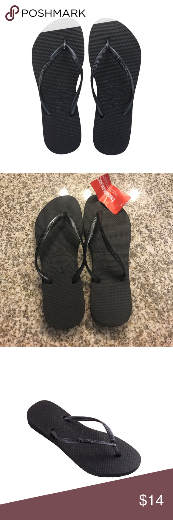 NWT Havaianas Women's Slim Black Flipflops Brand New, with tags Havaianas Women's Black Slim Flip Flops. Made in Brazil, these are made of 100% high-quality, super-soft and durable rubber. Size 9/10  🚫Trades/Holds🚫 📦Ships same day if PO is open📦 💰Firm Price Havaianas Shoes Sandals