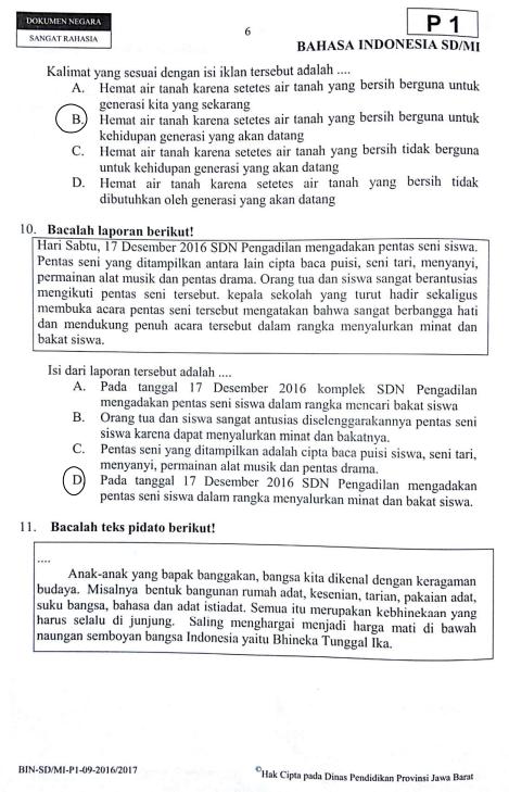 Kunci Jawaban Bahasa Indonesia Un Sd 2018 2017