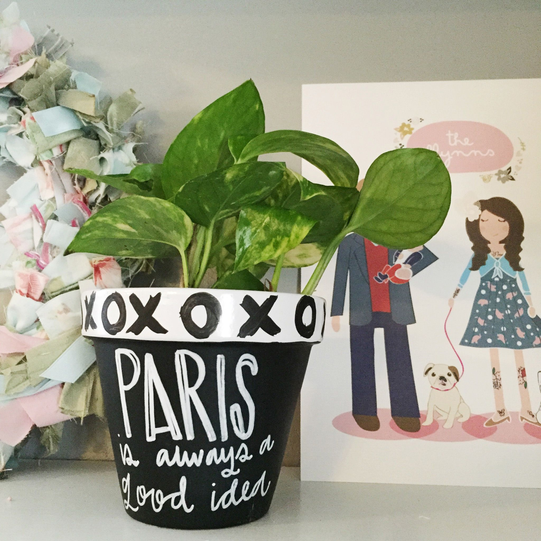 springtime in paris: diy easy painted decorative pots from