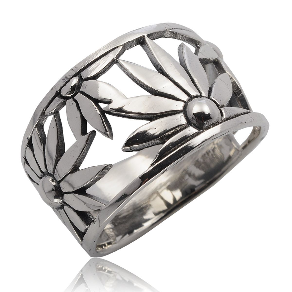 Very Nice Sunflower Ring 925 Sterling Silver Size.Us=10,Uk