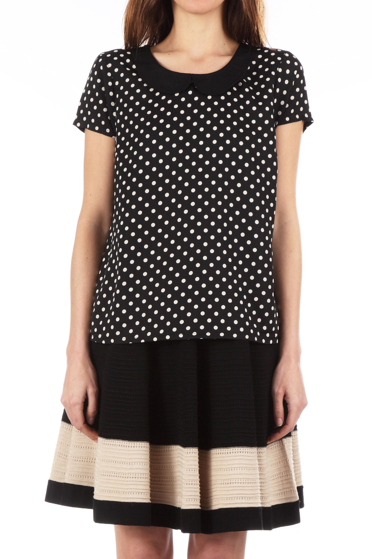 Vero Moda via Monshowroom. Top Nanna. Adorable avec ses pois et son col claudine.