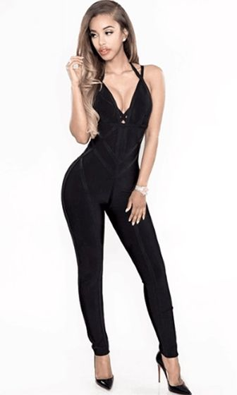 09fdf7bd19 Hold On Tight Black Double Spaghetti Strap Plunge V Neck Cut Out Bandage  Jumpsuit