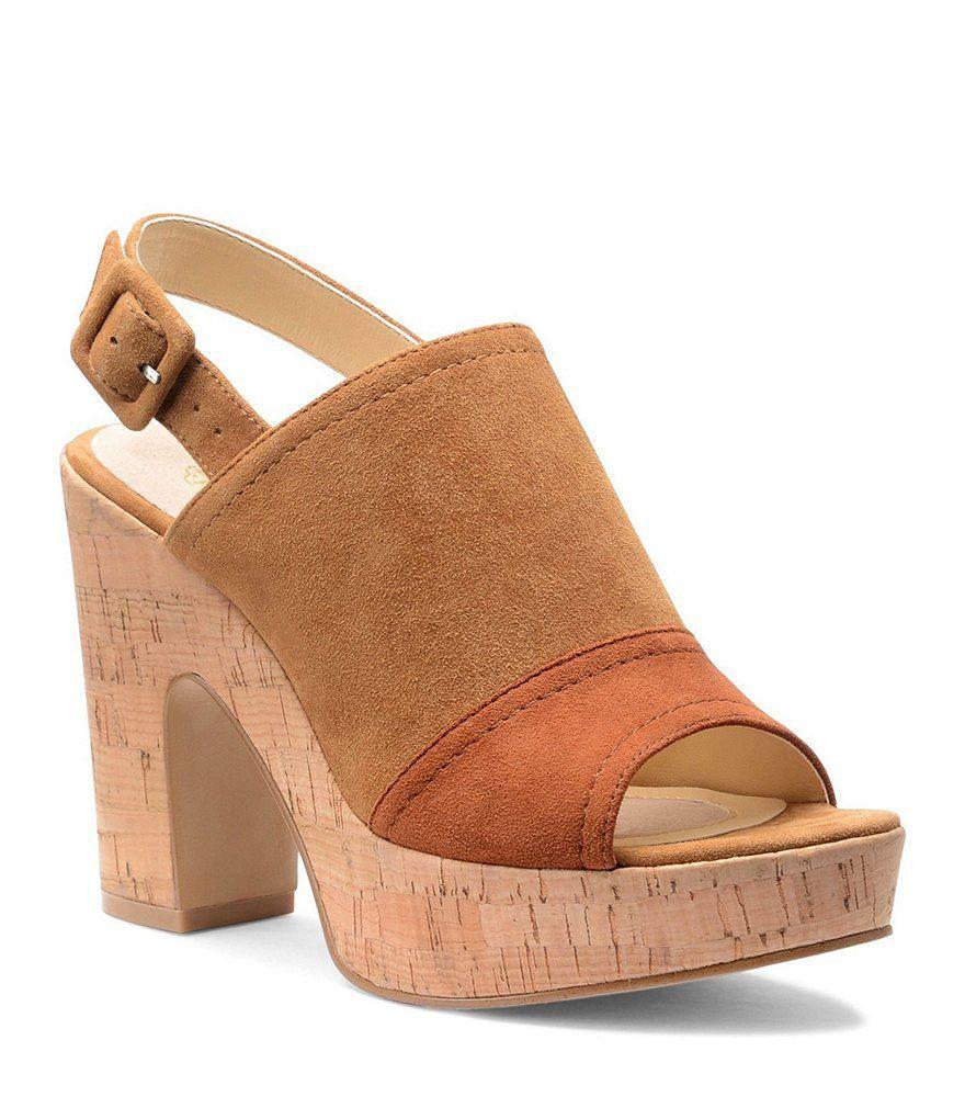 GB Meri-Cana Metal Stud Detail Platform Block Heel Sandals Ak74qLdWf