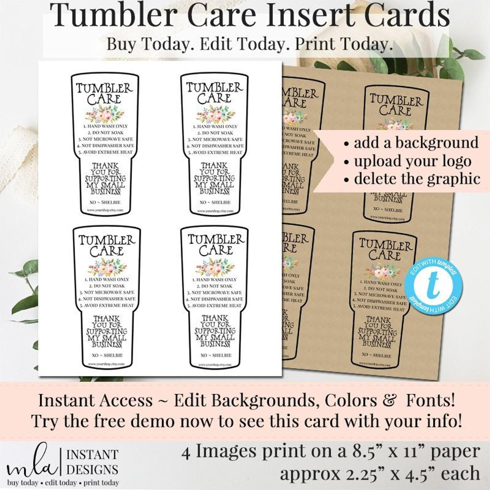 Tumbler Care Card Package Insert How To Wash Editable Etsy In 2021 Tumbler Tumbler Cups Diy Diy Tumblers